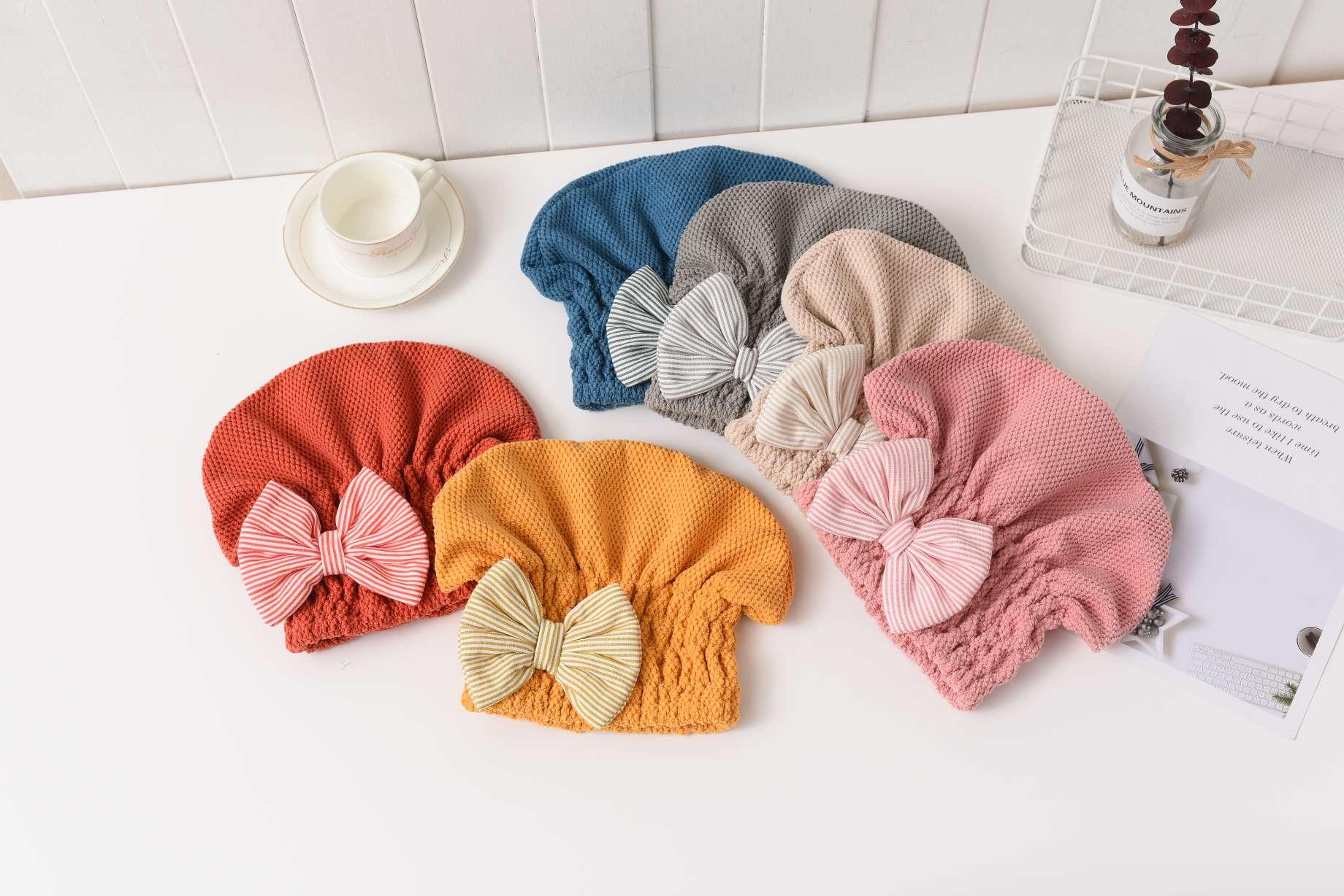 珍珠蝴蝶结干发帽