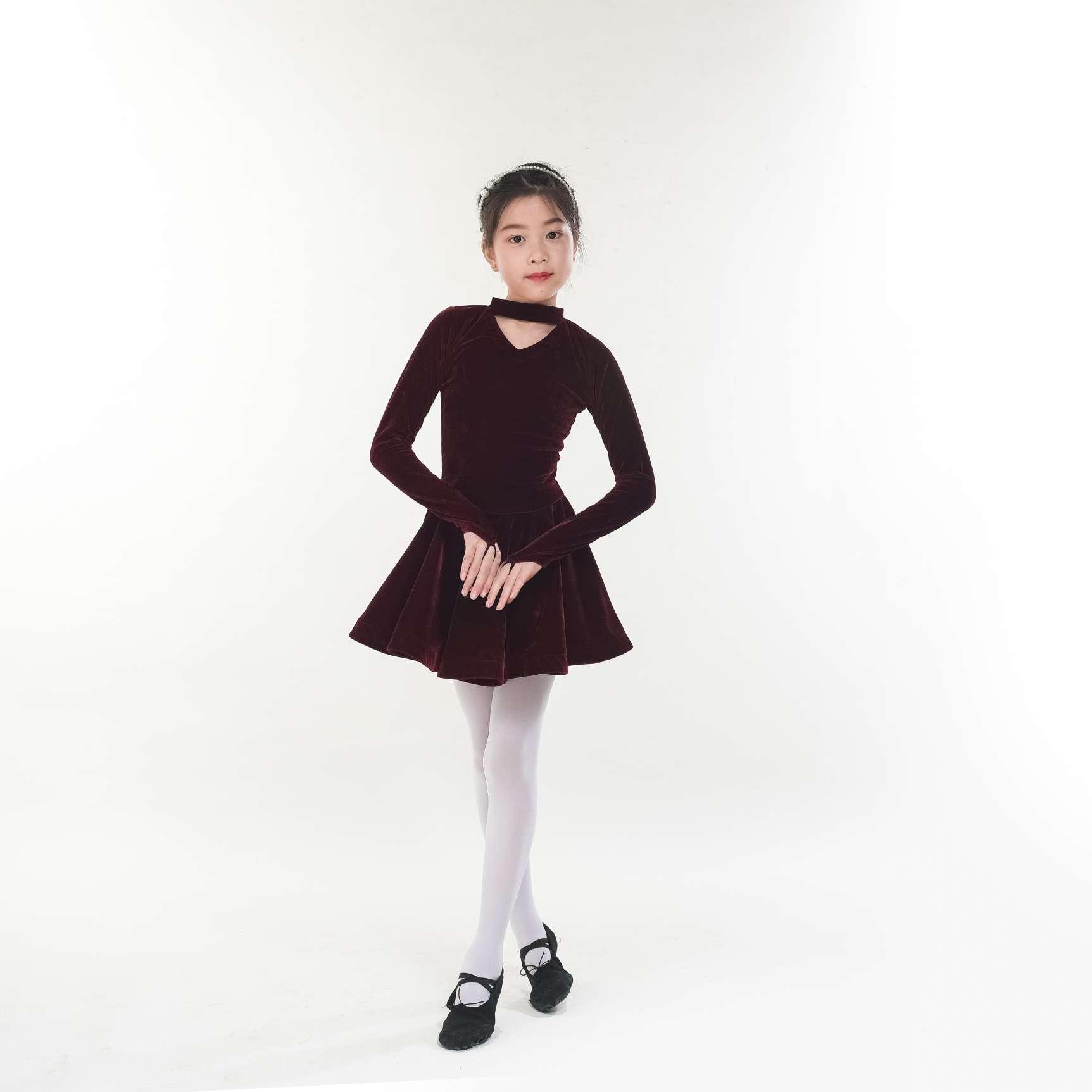 儿童金丝绒舞蹈裙拉丁裙带指套