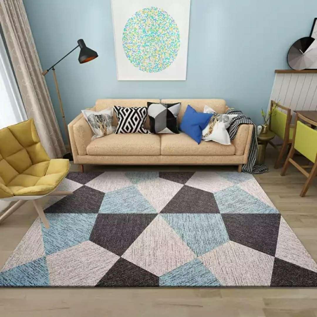 北欧几何图案地毯 客厅简约卧室满铺茶几垫沙发床边毯B橙色