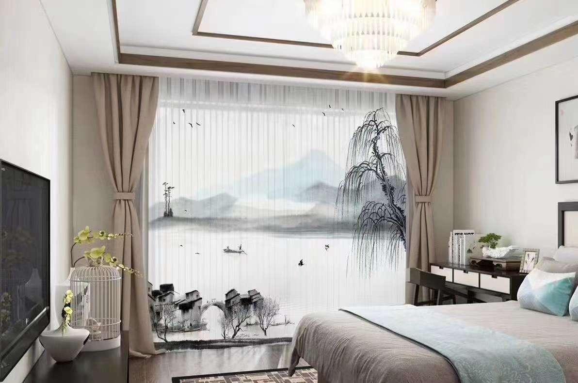 新中式中国风数码爆款山水风景画窗帘!立体感超强,犹如室外桃园,清新飘逸,柔和完美!