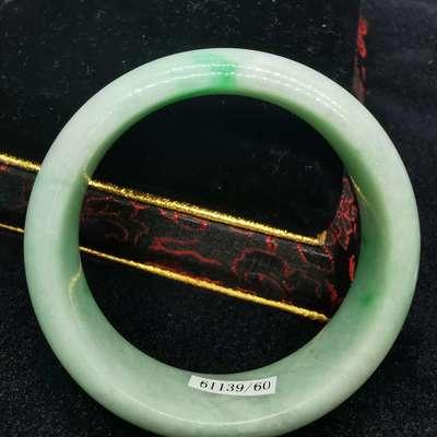 缅甸天然翡翠A货手镯 细糯飘阳绿 圈口60mm 尺寸8.61*17.3mm