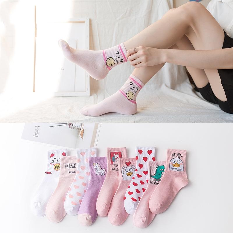 袜子女2020秋冬新品日系中筒袜ins风卡通潮流袜韩版学院风棉袜中筒运动一件代发