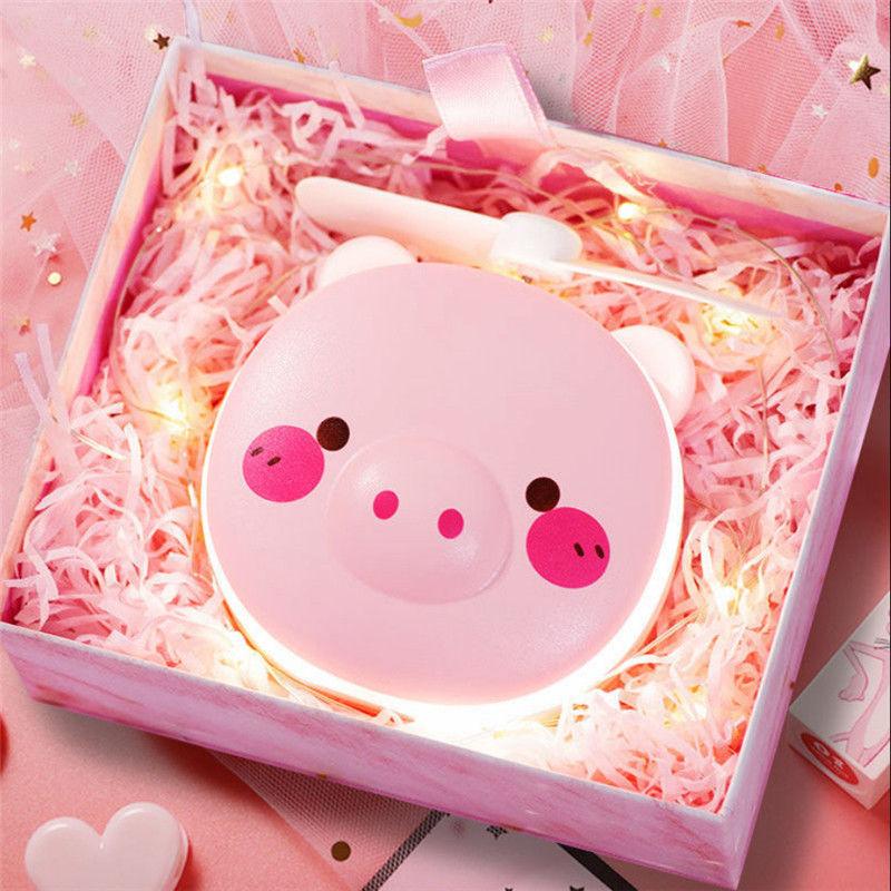 小猪化妆镜USB小风扇充电迷你可爱随身带灯便携美妆