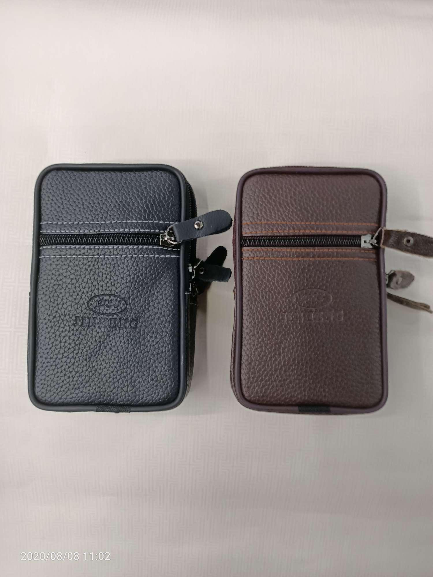 男士双拉链腰包手机包 多功能双层软牛皮穿皮带卡包零钱包