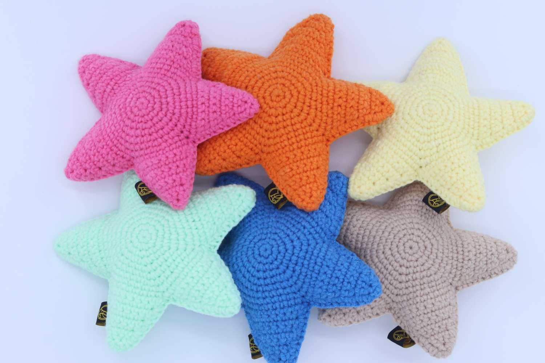 新款五角星猫咪自嗨解压玩具手工针织宠物布偶猫银渐层自娱小玩具