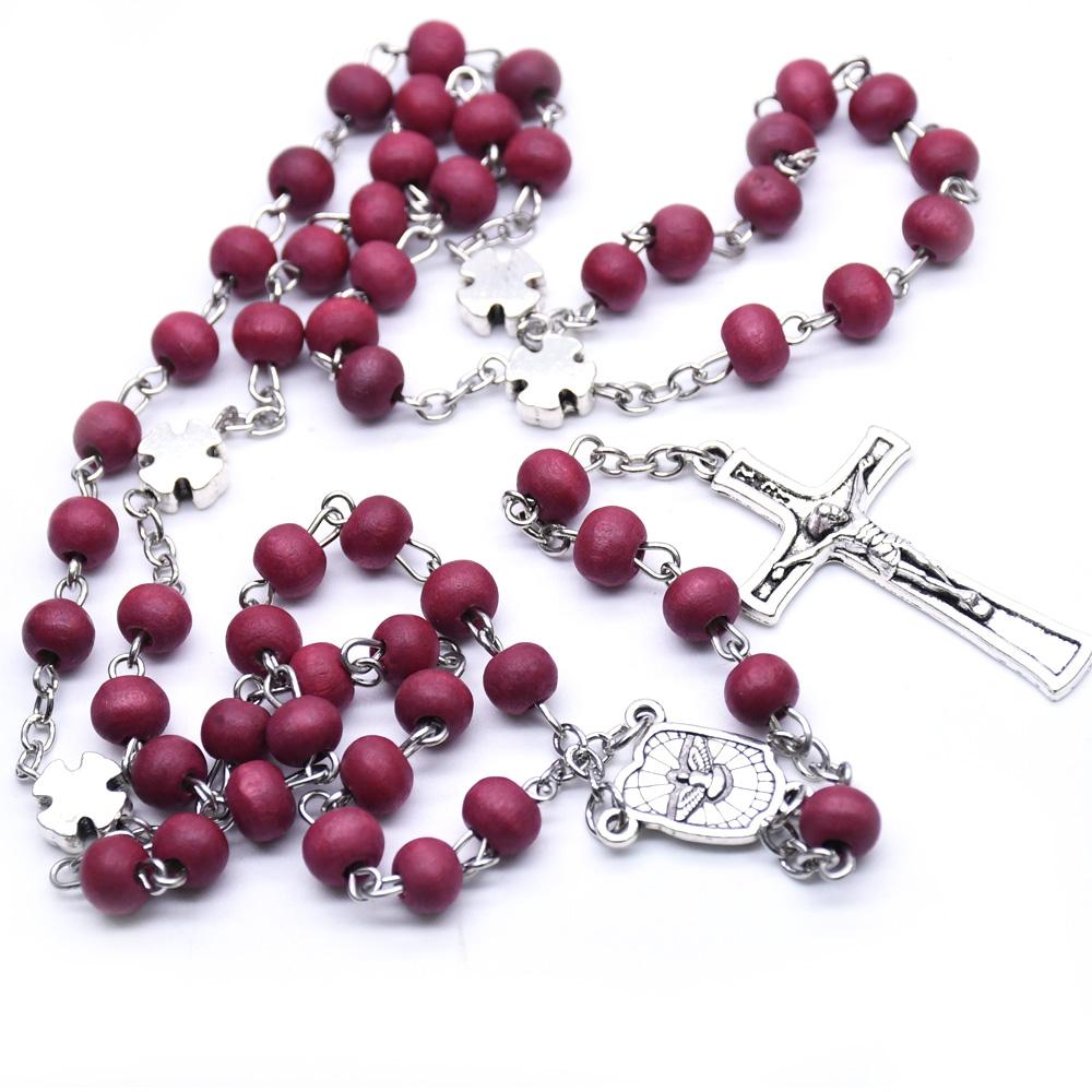 玫瑰香味酒红木珠念珠项链圣父圣母圣家庭十字架天主教念珠饰品