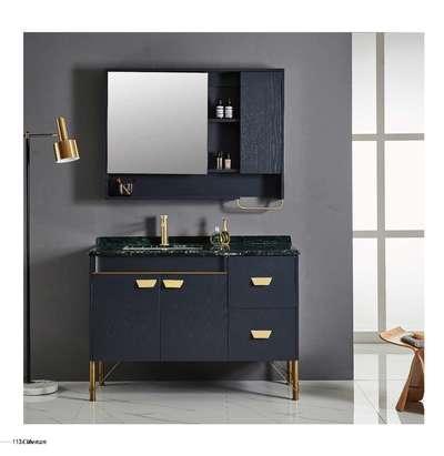木立方浴室柜美国红橡+多层实木开放北欧蓝浴室柜现代轻奢