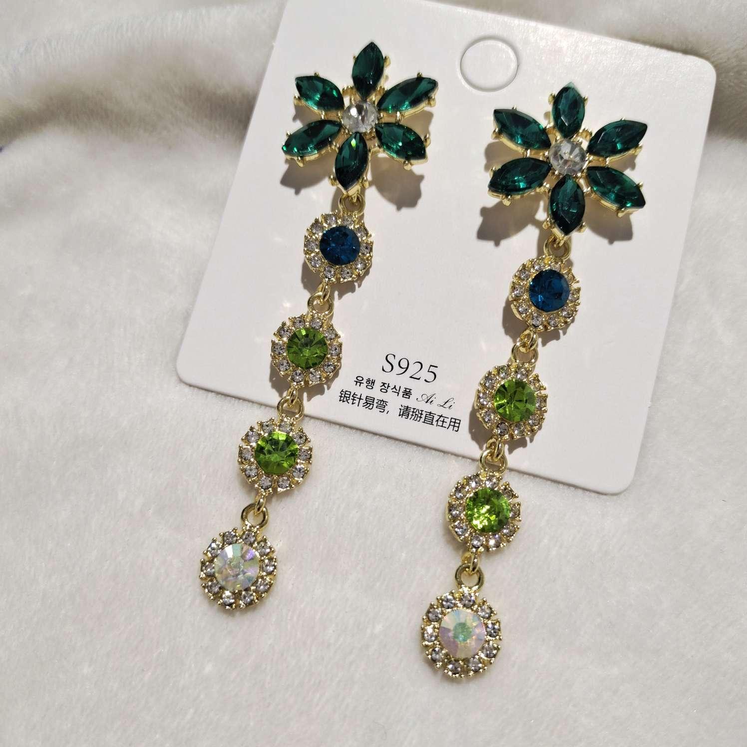 高级感绿色水晶花朵耳环女长款气质流苏夸张大气超仙网红耳钉纯银