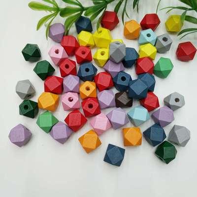 10mm-25mm八角珠各种规格彩色木珠环保水漆工艺装饰配件儿童玩具配饰