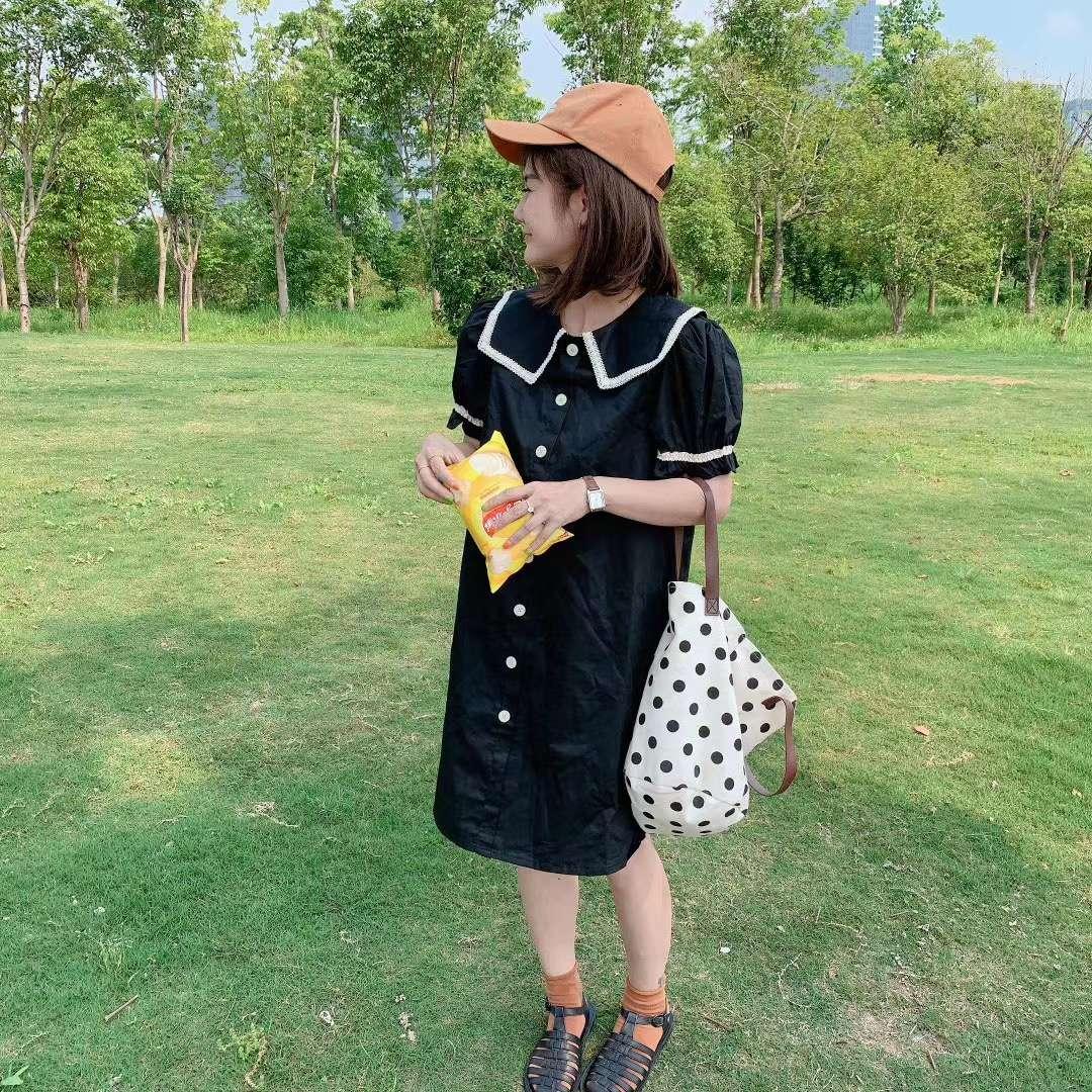 2020夏季韩版撞色方领蕾丝海军领泡泡袖一排扣显瘦减龄宽松连衣裙