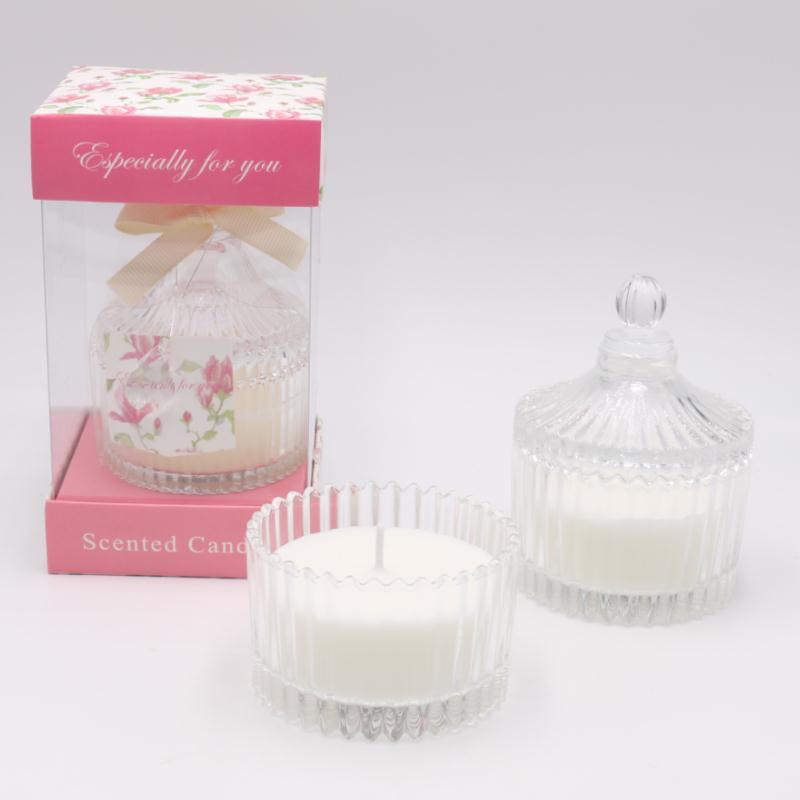 婚庆礼盒装糖缸水晶杯手工纯植物香薰蜡烛玫瑰香味