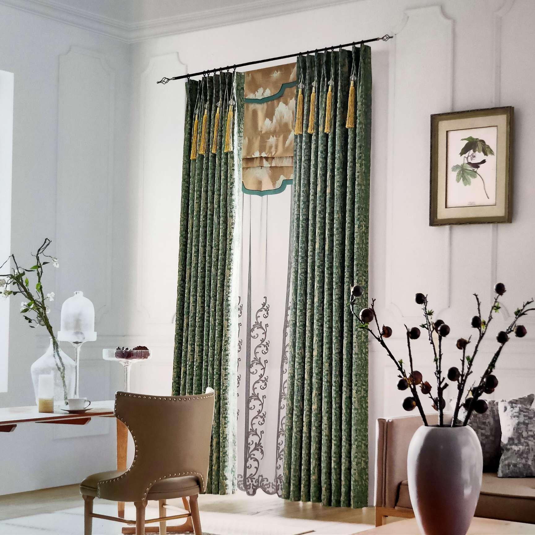 法式轻奢系列窗帘高端高精密提花墨绿色带幔窗帘4m内