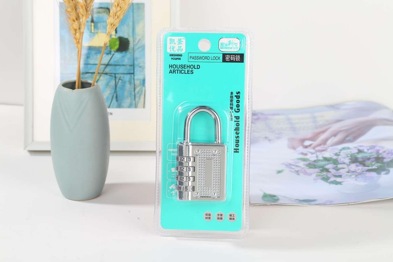 k-21大密码锁白色金属锌合金密码锁健身房安全挂锁更衣柜子锁长梁行李箱锁头