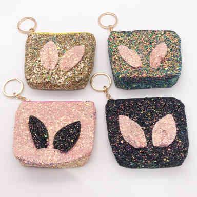 精美亮粉T形兔耳朵零钱硬币锁匙包学生卡包耳机包