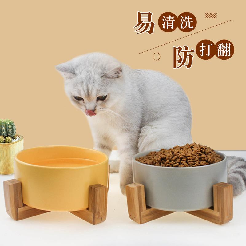 亚马逊热卖陶瓷猫碗 木架狗食盆猫咪喂食喂水碗 陶瓷宠物碗