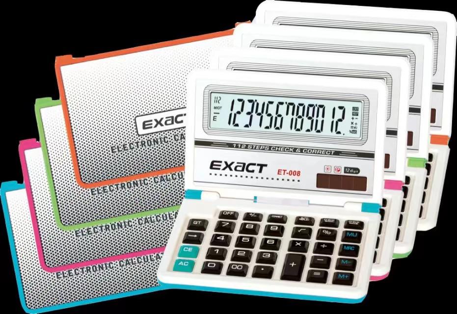 伊若特ET-008折叠查数计算器财务银行会计大屏显示12位数字亚克力按键计算器