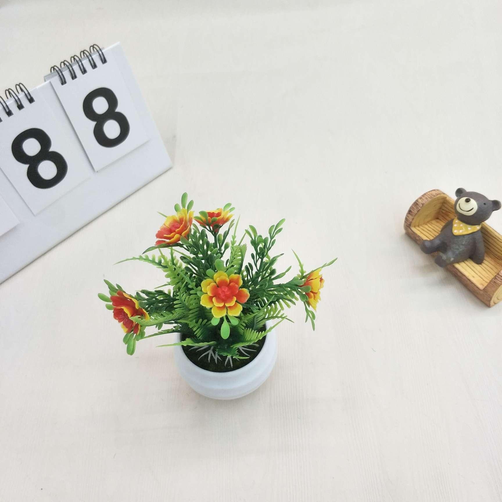 仿真盆栽仿真海棠花迷你小盆栽室内家居办公桌摆件