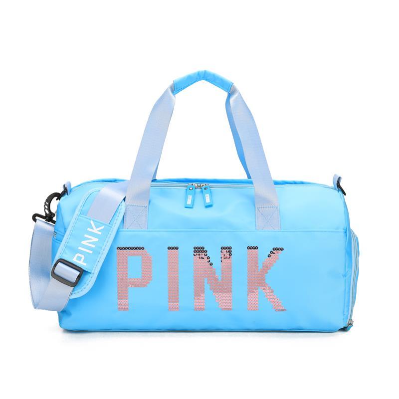天蓝色休闲纯色复合布料防水旅行包,现货多色供应,带独立鞋位和干湿分离功能,多功能手提健身,外出旅行包行李袋