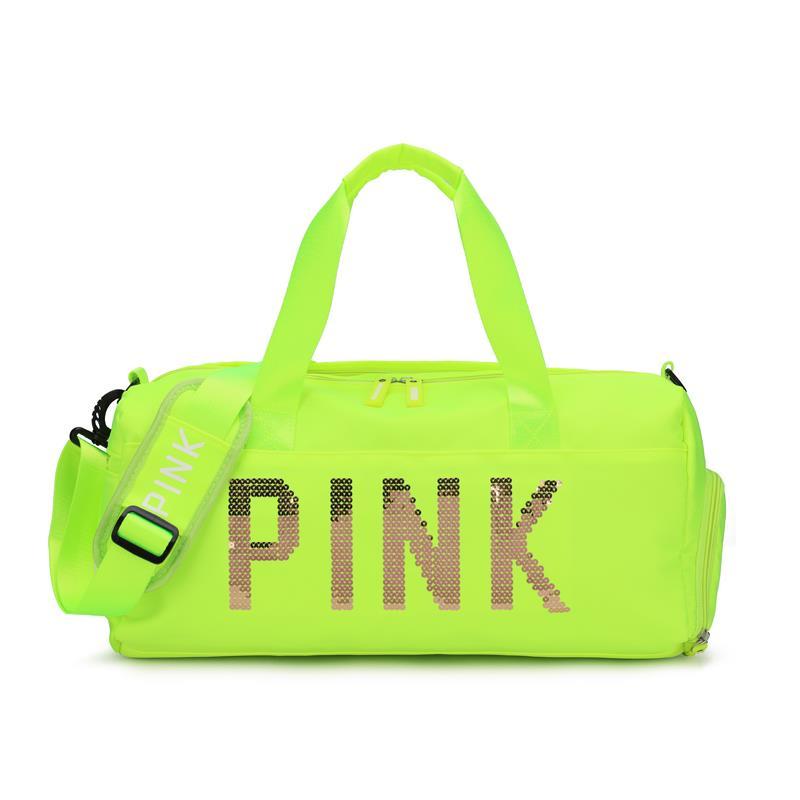 亮片绣pink纯色复合布面料运动健身包,带独立鞋位和干湿分离功能,短途旅行袋行李包,新添绿色,藕荷色