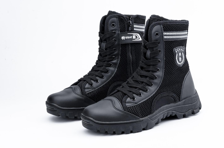 新款高帮黑色透气帆布安保鞋作战靴网面训练执勤保安靴 36—46码