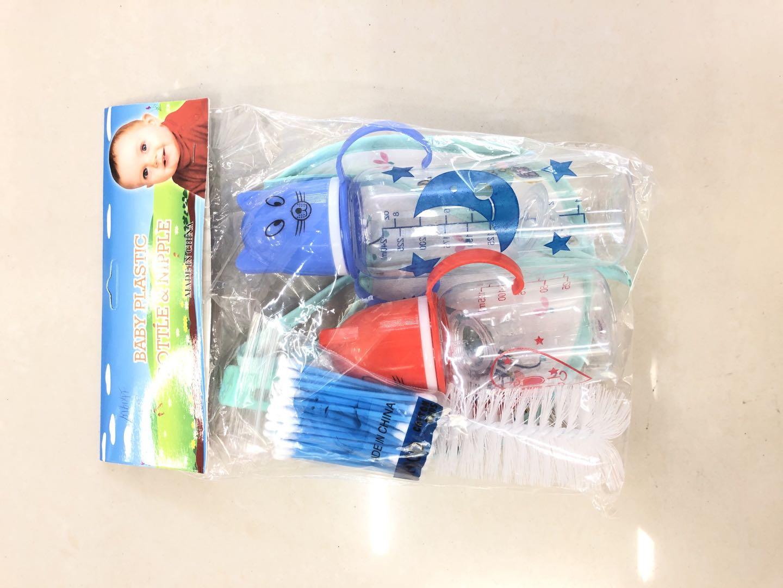 婴儿宝宝简单五件套卡通奶瓶套装