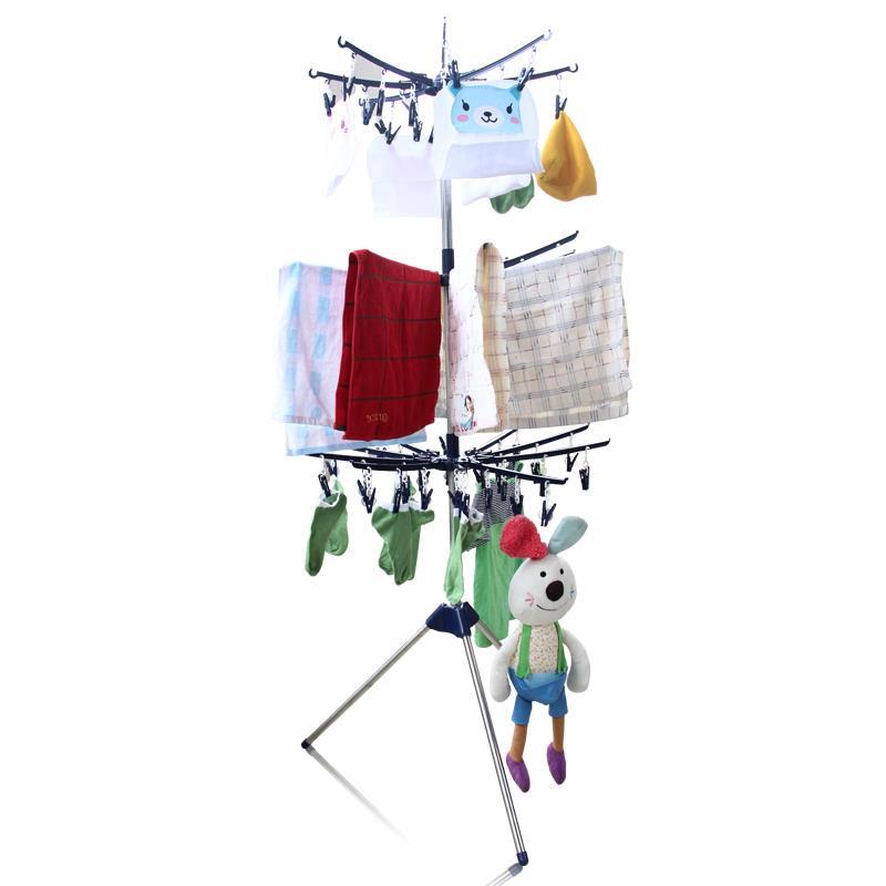 新款不锈钢复合管塑料夹子三叉脚三层圆盘可折叠旋转婴儿衣服架子货架展架晾晒架衣架毛巾架