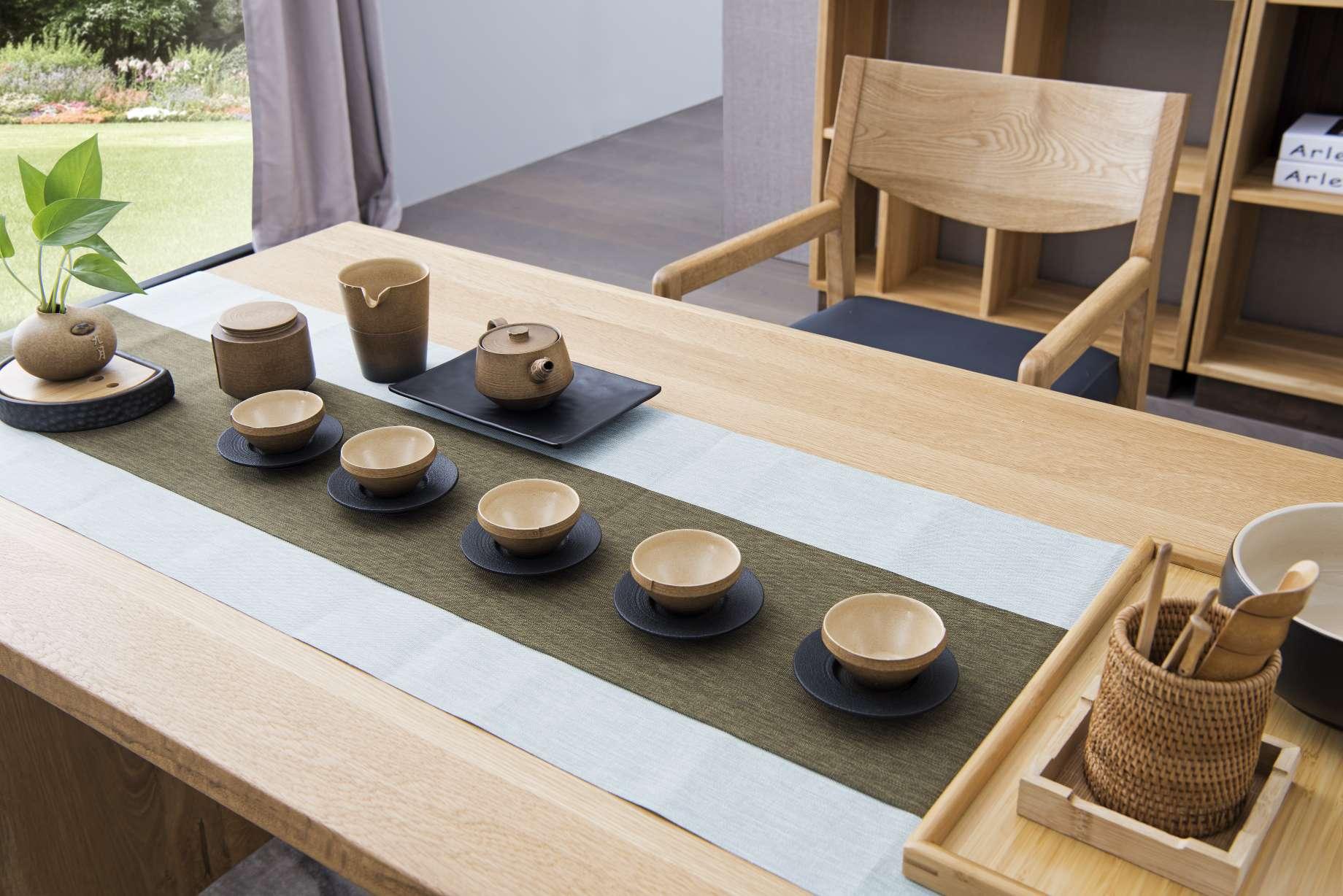 瑞图茶桌两色烟熏色和原木色尺寸1800*750*760