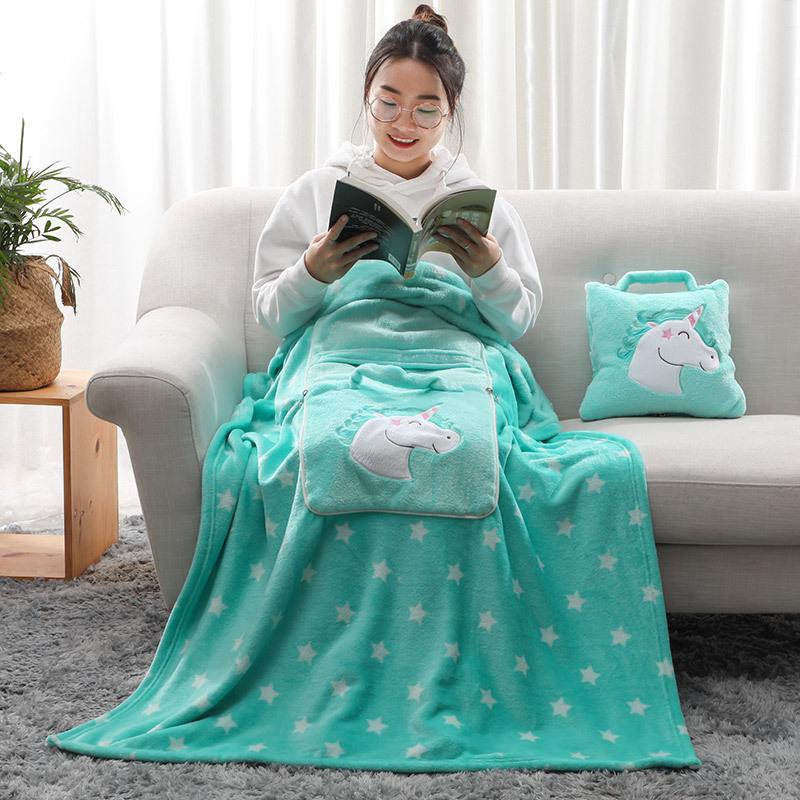 抱枕靠垫毛毯便携收纳车载旅行毯子加工定制赠礼品个性毛毯