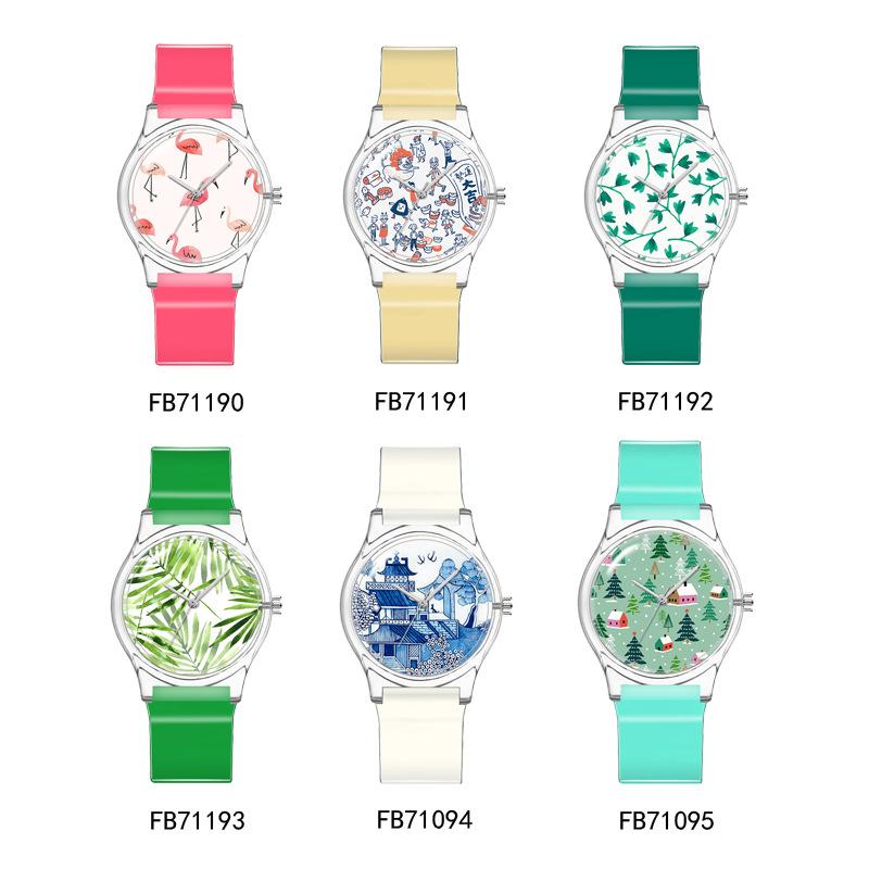 火烈鸟竹叶青花圣诞树系列女生手表 创意外贸热销卡通塑料腕表