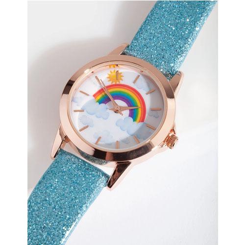 儿童节时尚卡通新颖各种图案儿童皮带手表 亮晶晶闪粉皮带