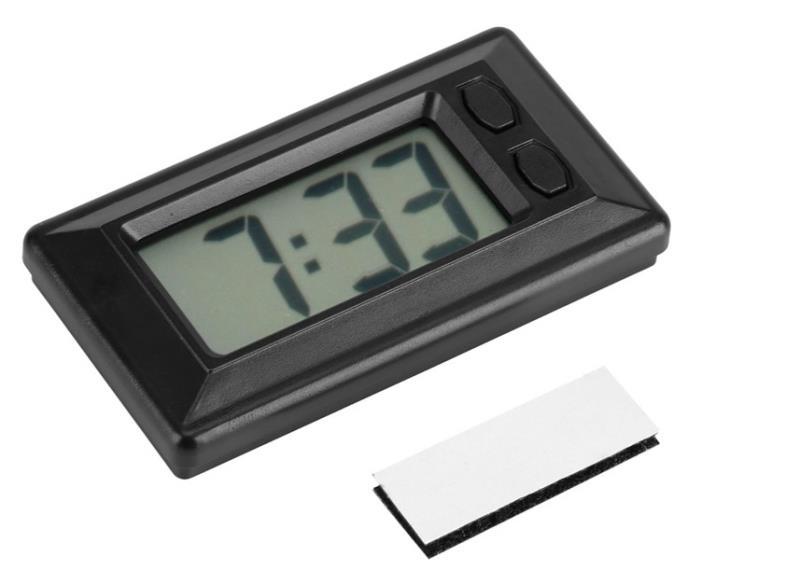 迷你超薄电子钟车载电子钟LCD简单时钟日历带魔术贴时间日期转换