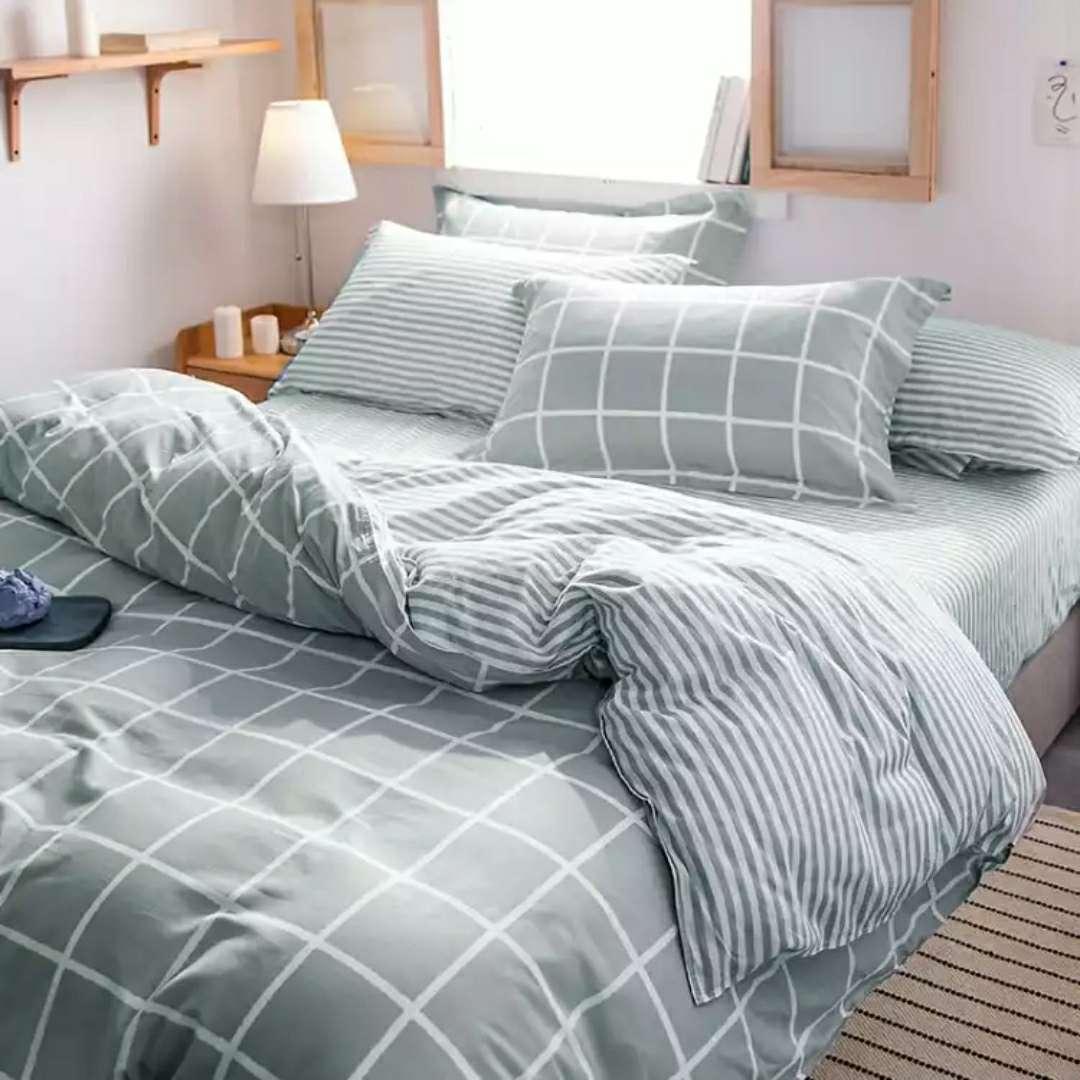自由自在 全棉四件套 纯棉用品被套床单加枕套 樱花花开A橙色