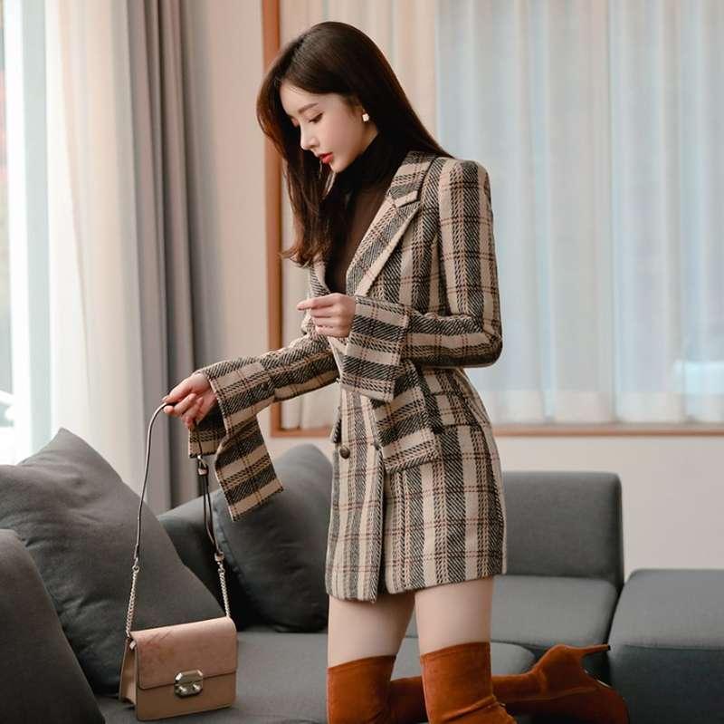 韩国进口2020秋冬女装新款复古格子修身西装气质OL毛呢外套连衣裙