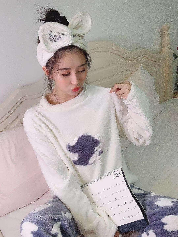 白色休闲睡衣女秋冬季珊瑚绒长袖家居服法兰绒加厚款冬天大码加绒保暖套装