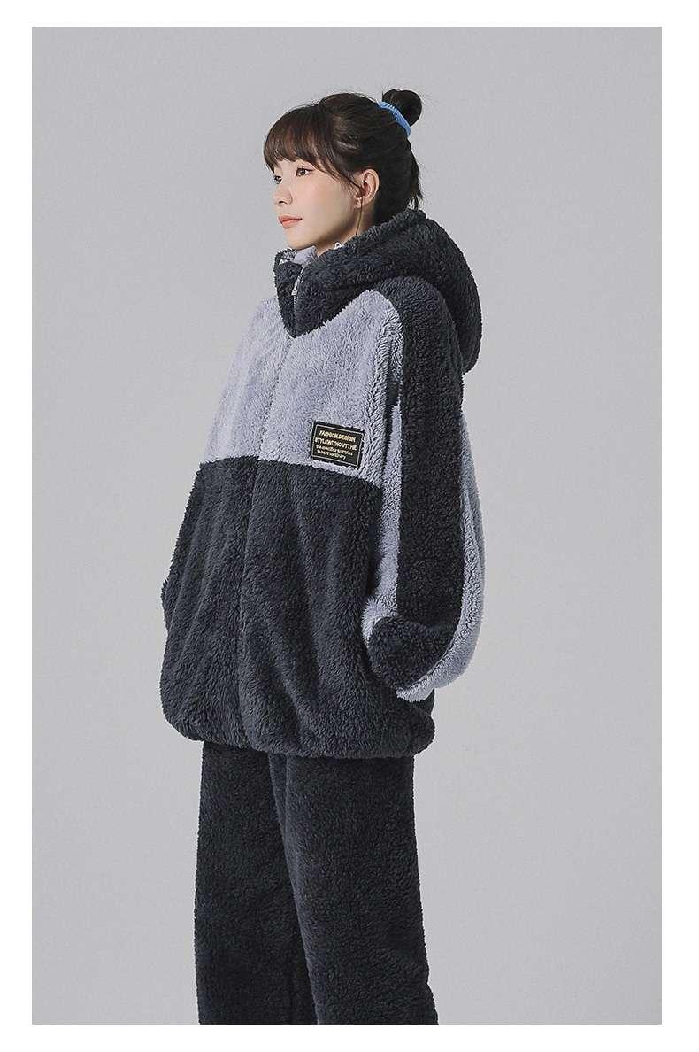 情侣睡衣冬季珊瑚绒女士秋冬款加厚套装法兰绒连帽家居服