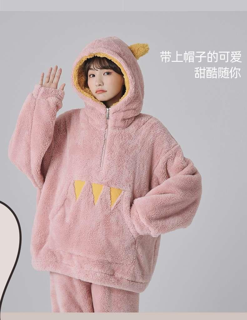 珊瑚绒睡衣女秋冬加厚保暖宽松版法兰绒可爱少女家居服套装