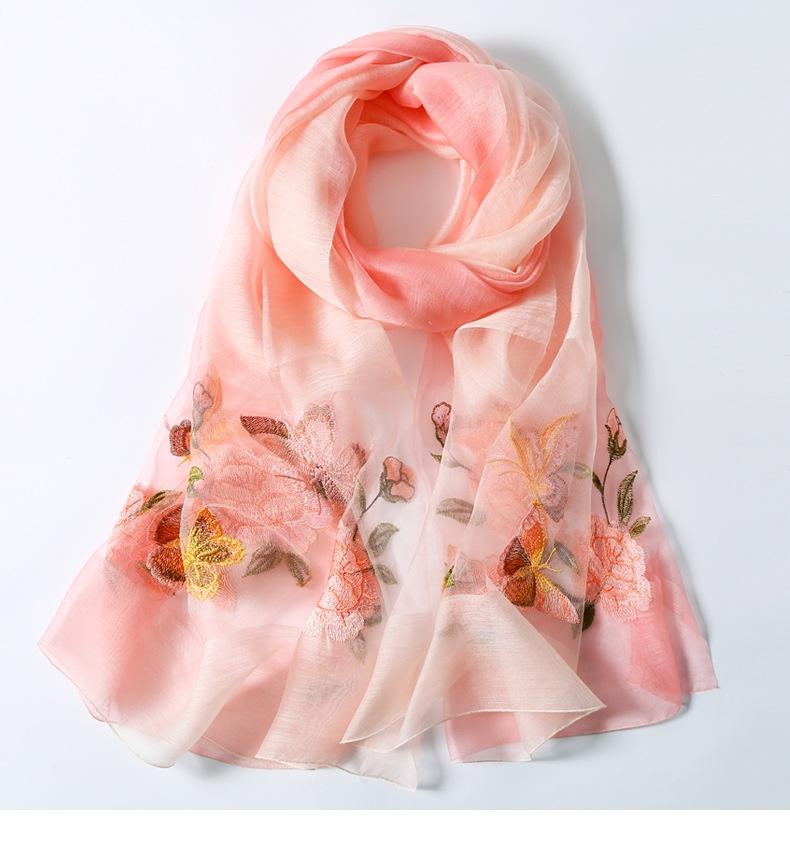 女春秋薄百搭新款真丝纯色丝巾时尚两用披肩54356