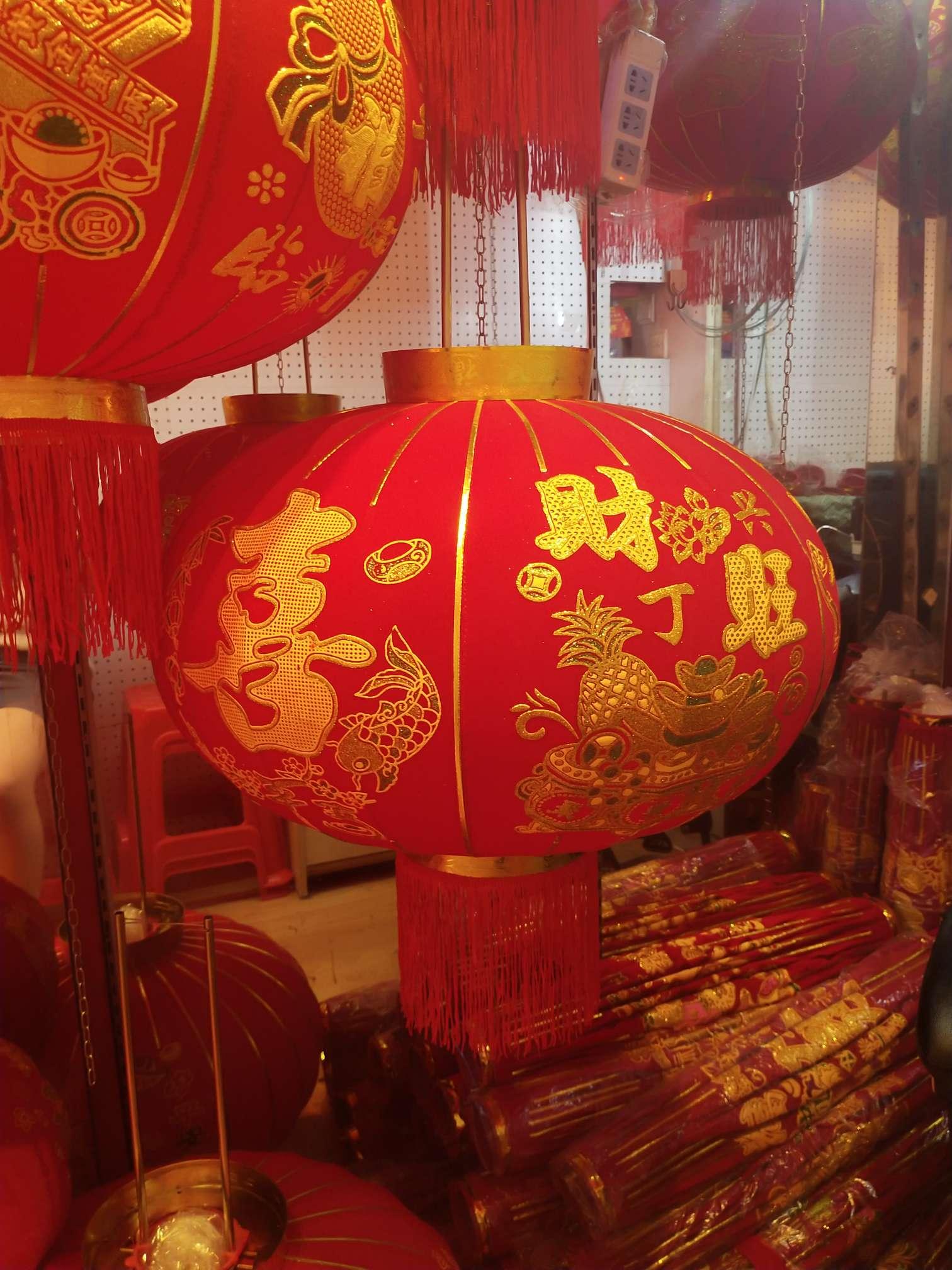 大红灯笼植绒布灯笼节庆用品