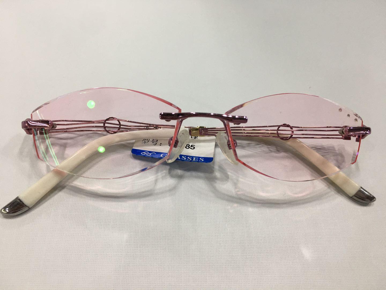 近视眼镜,切边镶钻,无框眼镜