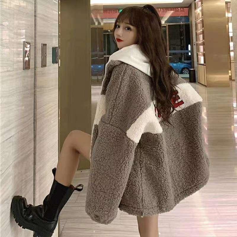 休闲羊羔毛外套,不挑人穿,均码,卡,黑,白