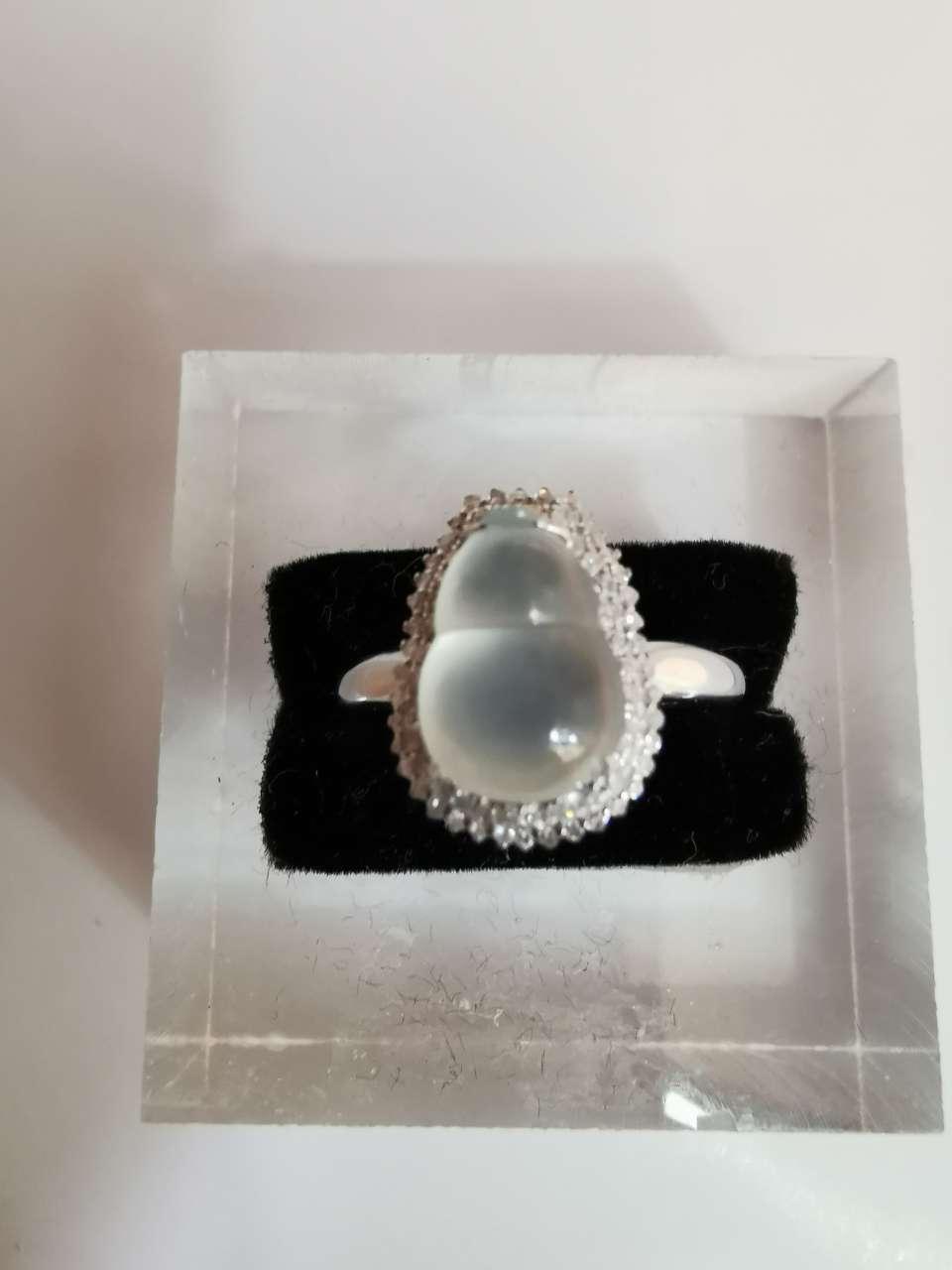 797-1冰种翡翠葫芦戒指 寓意多子多福