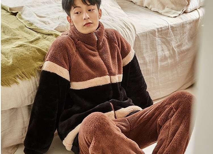 立领时尚珊瑚绒情侣   男款睡衣 秋冬新品法兰绒可外穿拼色休闲家居服