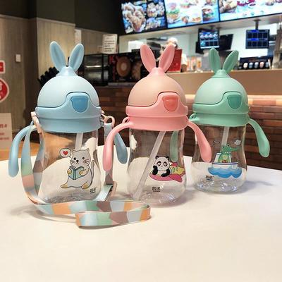 义乌好货 儿童水壶小兔子卡通吸管杯带刻度软耳朵宝宝水杯防摔防漏0861-493颜色随机发货