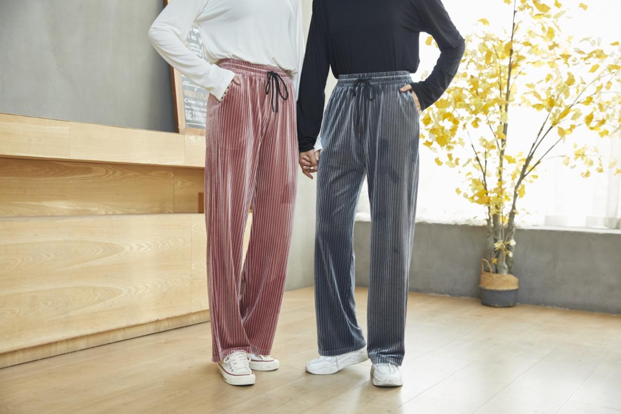 条纹时尚口袋丝绒裤