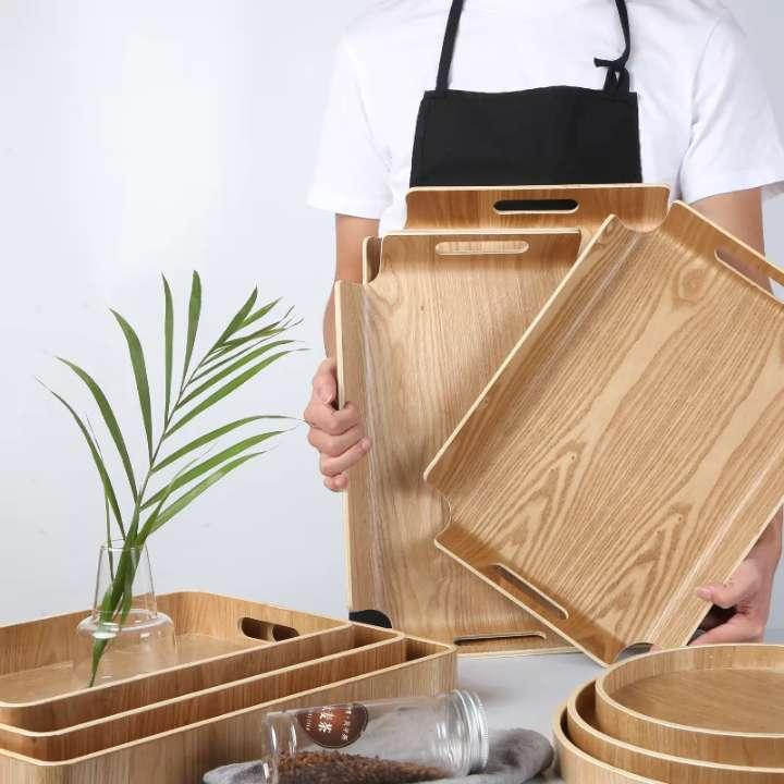 面包托盘木质长方形西点蛋糕自选餐盘烘焙店展示木制家用盘 1047  AB-4433