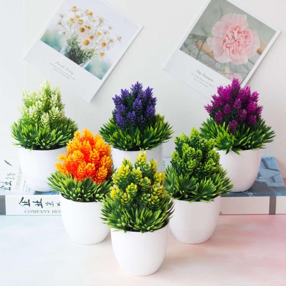 仿真植物盆栽绿植 家居装饰小摆件 塑料花盆小号 桌面仿真花盆景