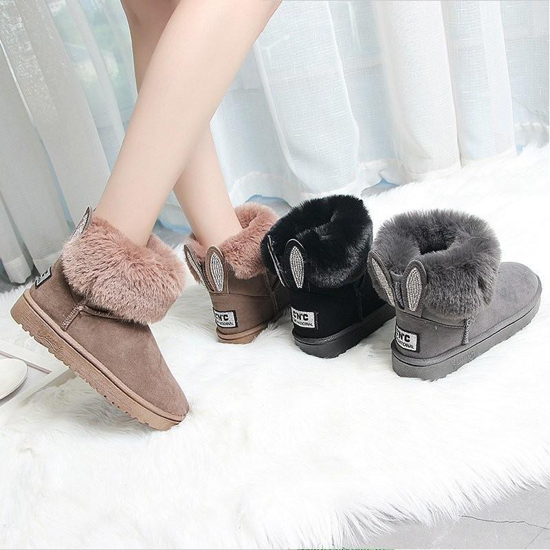 雪地靴女款加厚2020冬季女鞋新款鞋子加绒学生保暖兔耳朵雪地棉鞋