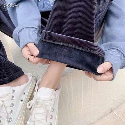 条纹绒阔腿裤