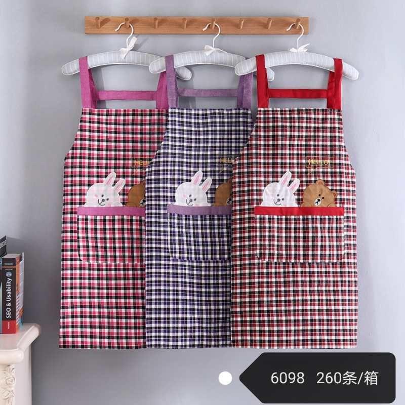 新款韩式无袖围裙男女情侣厨房做饭防油时尚家居背带纯棉围裙成人6098