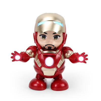 抖音地摊热卖可翻盖钢铁侠电动音乐跳舞机器人灯光玩具厂家直销
